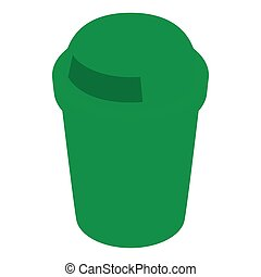Green outdoor bin icon, isometric 3d style