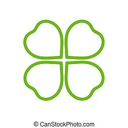 Green outline clover icon.