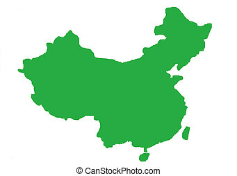 Green outline map of China