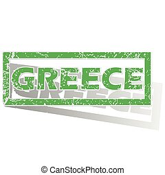 Green outlined Greece stamp