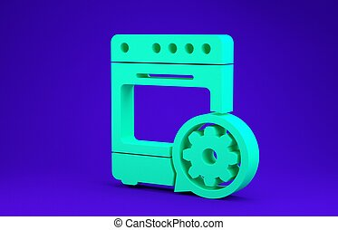 Green Oven and gear icon isolated on blue background. Adjusting app, service concept, setting options, maintenance, repair, fixing. Minimalism concept. 3d illustration 3D render