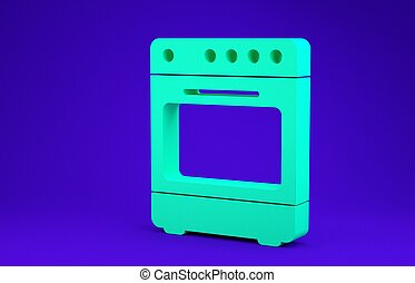 Green Oven icon isolated on blue background. Stove gas oven sign. Minimalism concept. 3d illustration 3D render