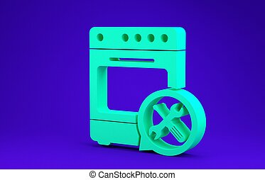 Green Oven with screwdriver and wrench icon isolated on blue background. Adjusting, service, setting, maintenance, repair, fixing. Minimalism concept. 3d illustration 3D render