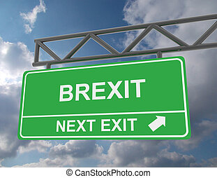 Green overhead road sign with a Brexit