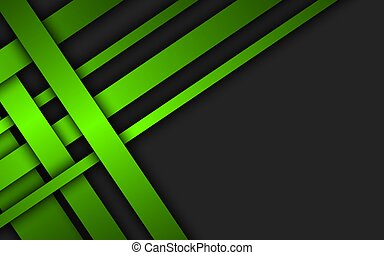 Green overlapped stripes. Geometric material background. Dark abstract corporate design with place for your text. Modern vector illustration