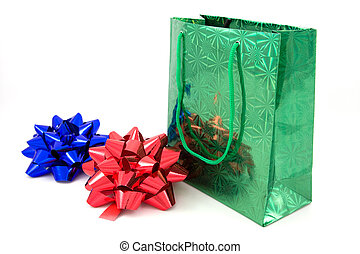 Green package and two bows