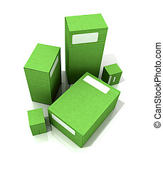Green packages - 3D rendering of several green packages in...