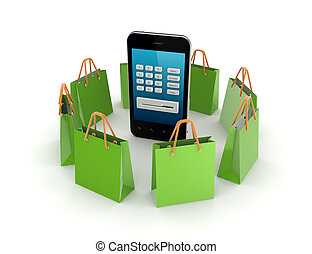 Green packets around mobile phone.
