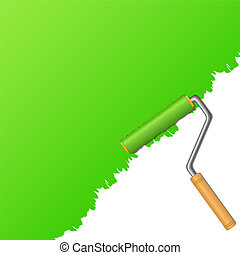 Green paint and roller