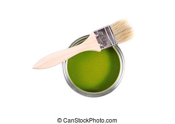 Green paint can with brush isolated on a white background