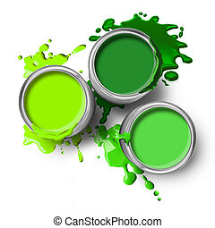 Green paint cans with splashes on white background