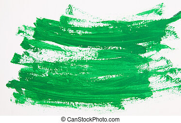 Green paint drawn with brush stroke