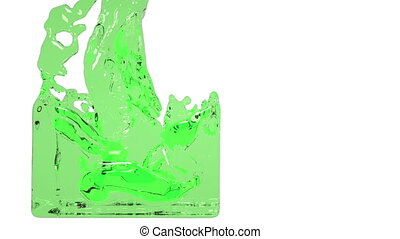 green paint flow fills up a container slowly. water