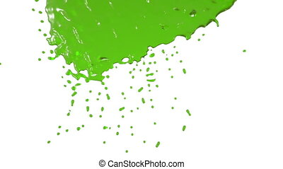 green paint flows down in slow motion. nectar