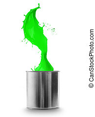 Green paint splashing out of can, isolated on white background