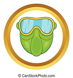 Green paintball mask vector icon