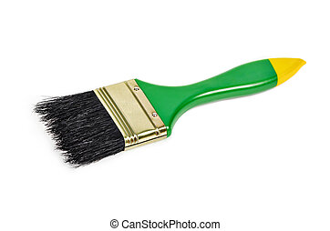 Green paintbrush isolated.