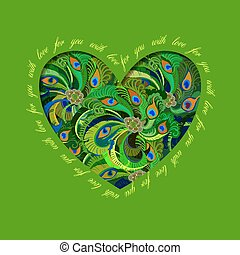 Green painted peacock feathers heart design. Love card.