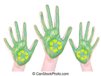 Green painted recycle hands