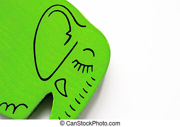 Green Painted Wooden Elephant