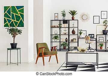 Green painting in living room