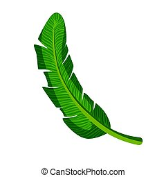 Green palm leaf. Colorful cartoon vector Illustration...
