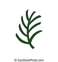 Green palm leaf. Tropical leaf on a white background. Vector illustration