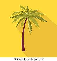 Green palm tree icon, flat style