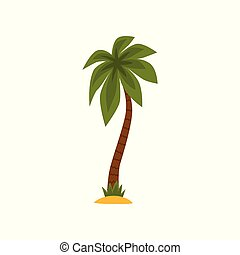 Green palm tree vector Illustration on a white background