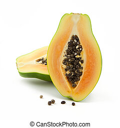 Green papaya Fruit on white backgorund. Taken in Studio with...