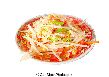 Green papaya salad Thai Food on white background