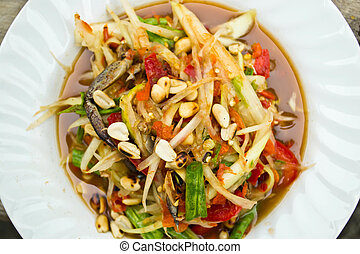 Green papaya salad, Thai food