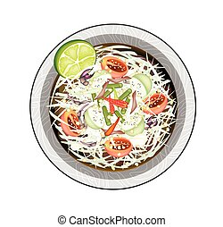 Green Papaya Salad with Salted Fish and Crabs - Cuisine and...