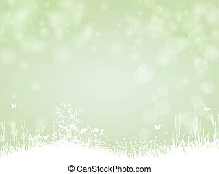 Green paper background with butterfly and plants