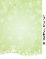 Green paper background with butterfly n plants