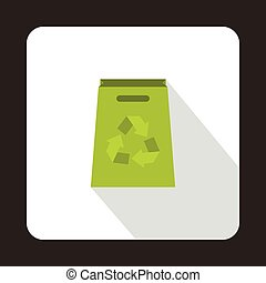 Green paper bag with recycling symbol icon