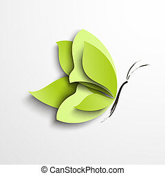 Green paper butterfly. Abstract design
