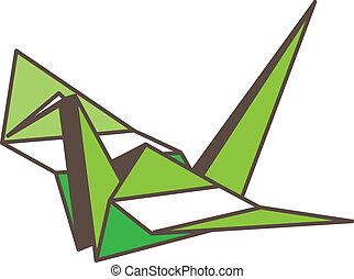 Green Paper Crane Icon