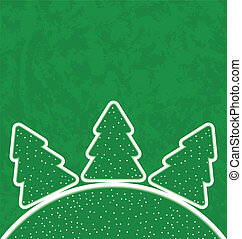 Green paper cut-out set christmas tree - Illustration green...