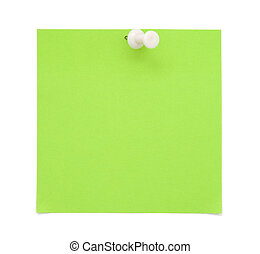 Green paper note with with push pin