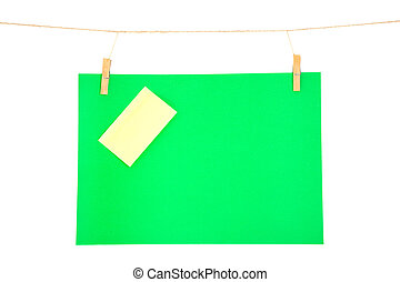 green paper sheet and yellow