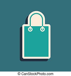 Green Paper shopping bag icon isolated on green background. Package sign. Long shadow style. Vector Illustration