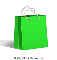 Green paper shopping bag. Packaging of goods from the store. Shopping and sale. Vector Image.