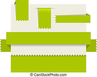 Green paper tags - Vector ribbons, stripes and bookmars