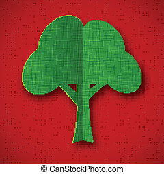 Green paper tree on dark red background