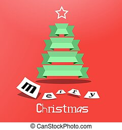 Green Paper Tree on Red Background. Vector Xmas Card. Christmas Cover Design.