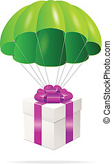 Green Parachute with a gift box