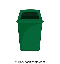 Green park garbage can icon, flat style