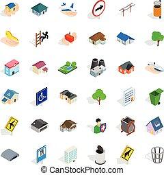 Green park icons set, isometric style