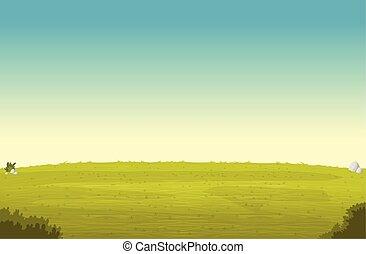 Green park landscape. Blue sky on grass field.